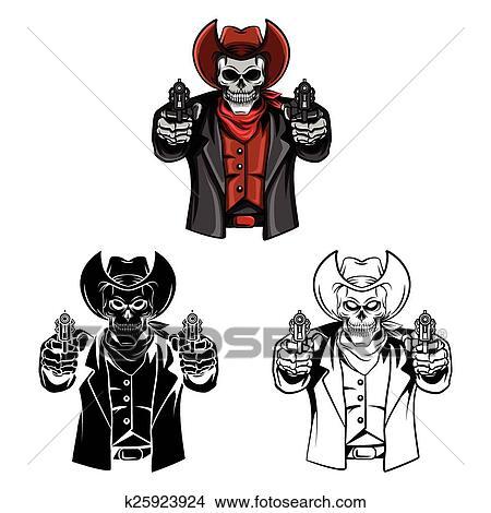 Clipart - libro colorear, cráneo, cowb, carácter k25923924 - Buscar ...