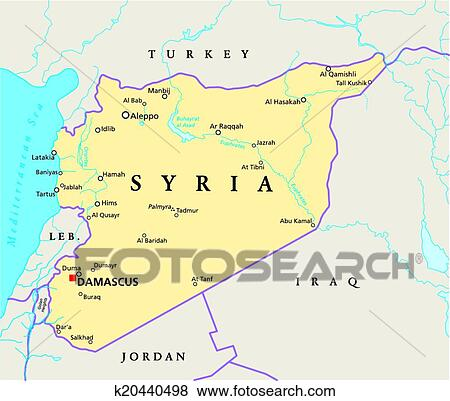 Political Map Of Jordan.Clip Art Of Syria Political Map K20440498 Search Clipart