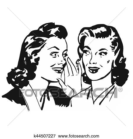 Clip Art Of Two Vintage Girls Gossip K44507227