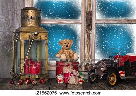Stock Bilder Weihnachten Fensterbank Deko Mit Alt