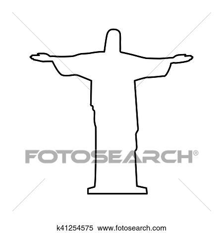 Dessin Christ Redempteur clipart - christ rédempteur, ou, corcovado, sculpture, icône, image