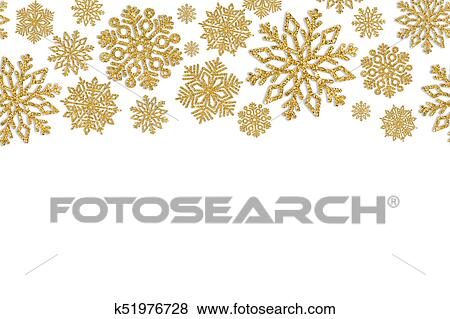 Christmas Frame.Christmas Frame With Gold Snowflakes Border Of Sequin Confetti Standartinės Nuotraukos