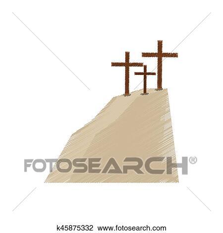 Drawing Golgotha Hill Three Crosses Clipart
