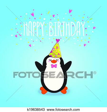 Clipart Of Happy Birthday Card Background With Cute Penguin