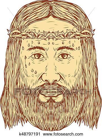 Clipart Jesús Con Corona De Espinas Cara Dibujo K48797191