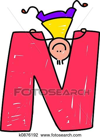 clip art of letter n boy k0876192 search clipart illustration rh fotosearch com letter n clipart free