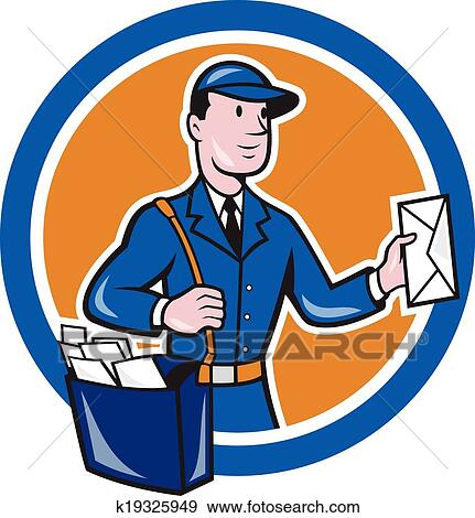 clip art of mailman postman delivery worker circle cartoon k19325949 rh fotosearch com mailman clipart free mailman bag clipart
