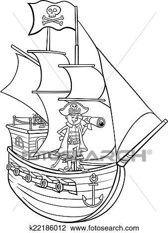 Clipart Pirate Sur Bateau Dessin Anime Coloration Page
