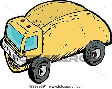 Clipart Of Single Empty Taco Dump Truck Drawing K39939391