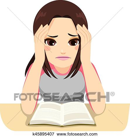 clip art of stressed girl studying k45895407 search clipart rh fotosearch com Person Studying Clip Art little girl studying clipart