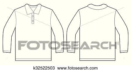 Clipart of White Long Sleeve Polo Shirt Design Template k32522503 ...