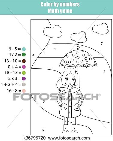 coloring page with girl color by numbers math game clipart k36795720. Black Bedroom Furniture Sets. Home Design Ideas