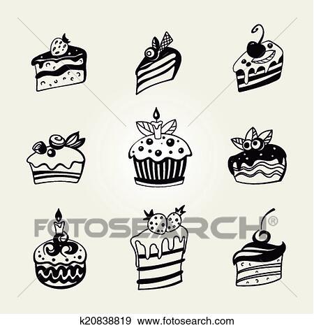 Cupcakes Set Vettore Clip Art