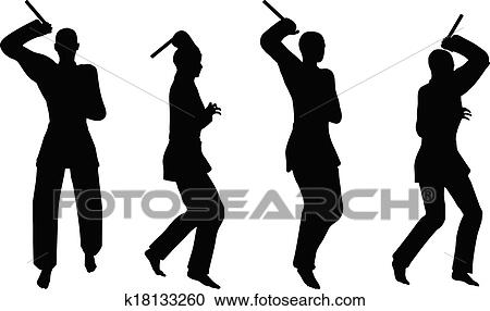 Karate martial art silhouettes of men and women in sword fight karate poses  Clipart