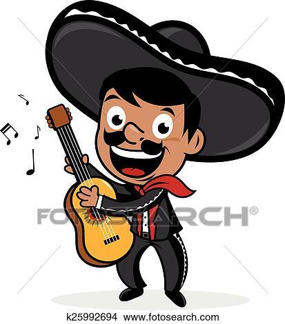 clipart of mexican mariachi man playing guitar k25992694 search rh fotosearch com mariachi clipart free mariachi hat clipart
