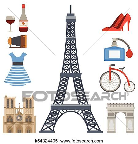 Clipart Of Paris Icons Vector Famous Travel Cuisine Traditional