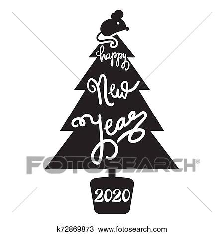 2020 Happy New Year on Fir,tree Silhouette Banner Clipart