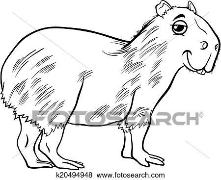 Clip Art - capybara, tier, karikatur, färbung, seite k20494948 ...