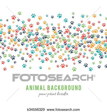 30c4c567cbd3 Colorful dog paw prints background isolated on white background. Paw print  border design. Animalistic style. Footprint icons. Colorful pet steps.  Abstract ...