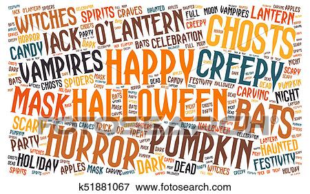 stock illustration of happy halloween word cloud k51881067 search