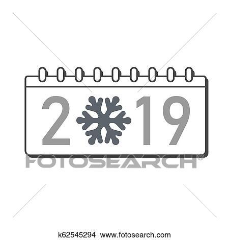Schablone Frohe Weihnachten.Kalender Frohes Neues Jahr 2019 Zahl Freigestellt Weiß Hintergrund Grau Schablone Cover Weihnachten Snowflake Silber Flache Design
