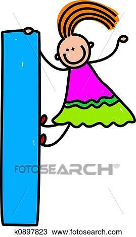 Dibujo Letra L Niña K0897823 Buscar Clip Art Ilustraciones De