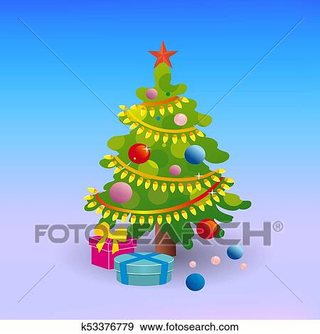 Lush Christmas Tree With Toys And A Star Cartoon On A Winter