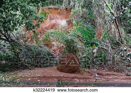 stock photograph of natural disasters landslides during the rainy