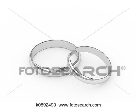 Platinum Or Silver Wedding Rings On White Background High Resolution Image