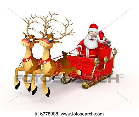 stock illustration of santa claus with his sleigh k16778088 search