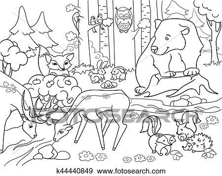 Wald Landschaft Mit Tiere Färbung Vektor Für Erwachsene Clip Art