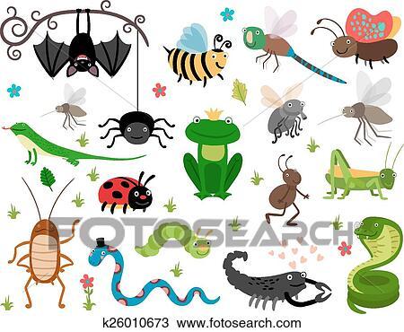 かわいい ベクトル 昆虫 Reptiles 蜂 バッタ トカゲ そして