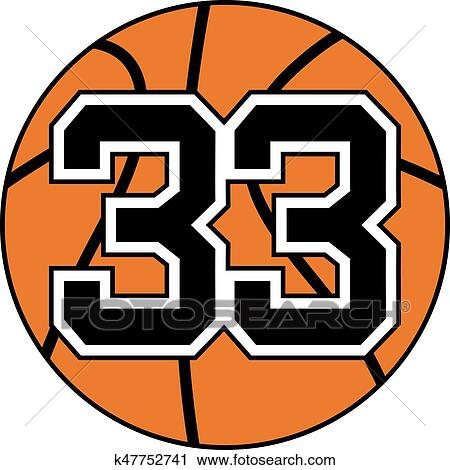 Clipart Of Ball Of Basketball Symbol With Number 33 K47752741
