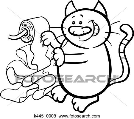Clip Art Of Cat And Toilet Paper Coloring Page K44510008 Search