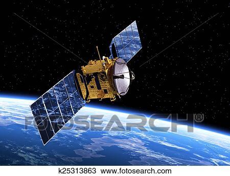 stock photo of communication satellite orbiting earth k25313863