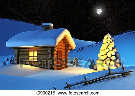 Christmas House And Fir Tree In Snow Drift Mountain Landscape
