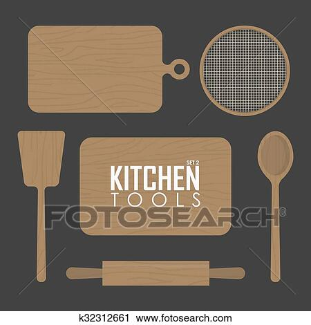 Clipart Of Kitchen Boards And Wood Tool K32312661 Search Clip Art