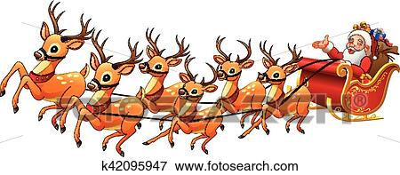 clip art of santa claus rides reindeer sleigh on christmas k42095947