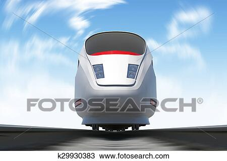 Train moving on rail-tracks, front view Drawing