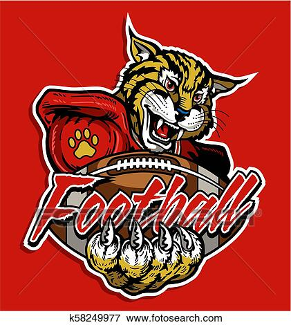 Wildcats football team design with mascot and claws for school, college or  league.