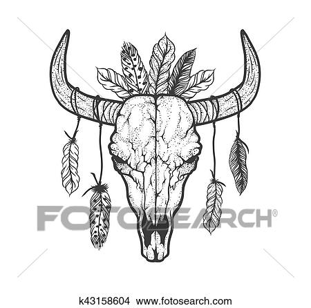 8b832165e Clipart - Bull skull with feathers native Americans tribal style. Tattoo  blackwork. Vector hand