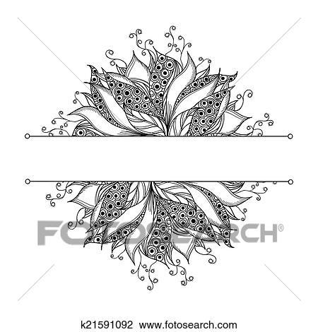 Carte Gabarit à Fantasme Noir Blanc Fleur Dessin