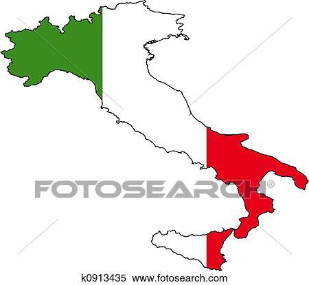 Banque d'Illustrations   carte, italie k0913435   Recherche de