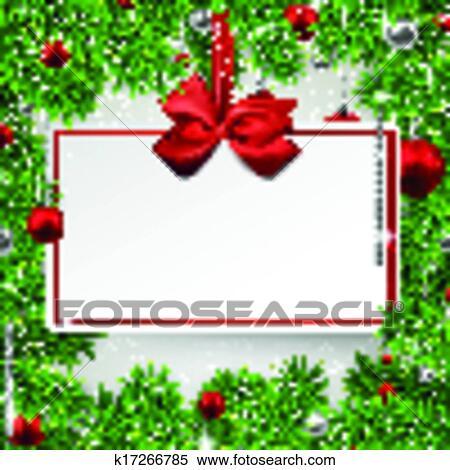 Christmas Frame With Invitation Card Clipart K17266785