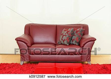 Dark red sofa Stock Photo | k0912587 | Fotosearch