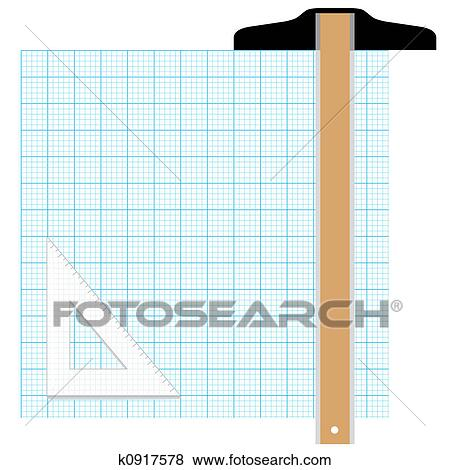 stock illustration of graph paper drafting tools draw k0917578