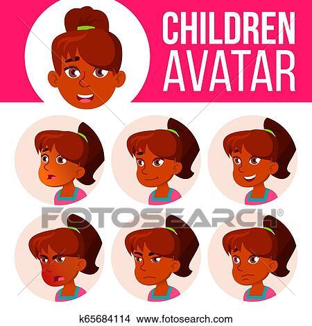 Indian Girl Avatar Set Kid Vector High School Face