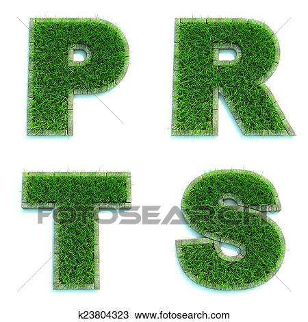 Drawing of letters p r t s as lawn set of 3d k23804323 letters p r t s alphabet set of green grass lawn on white background in 3d thecheapjerseys Image collections