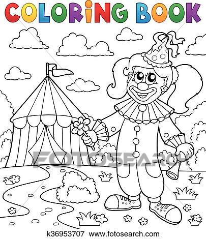 Clip Art - libro colorear, payaso, cerca, circo, tema, 7 k36953707 ...