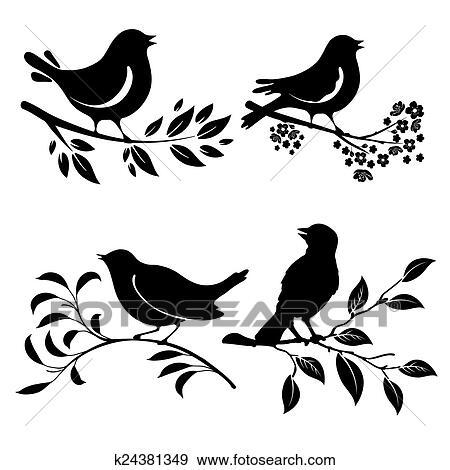Clipart Oiseau Sur Branche K24381349 Recherchez Des Cliparts